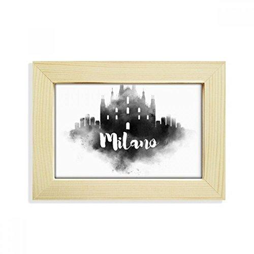 DIYthinker Milano Italien Zeichen Ink Stadt Malerei Desktop-HÖlz Bilderrahmen Fotokunst-Malerei Passt 10.2 x 15.2cm (4 x 6 Zoll) Bild Mehrfarbig
