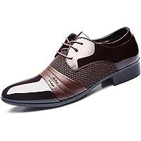 HYLM Los Zapatos de los Hombres de Negocios del cordón de Zapatos de Boda Zapatos de Vestir de los Hombres Grandes, Brown, 41
