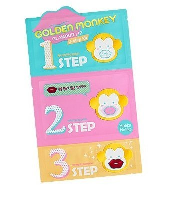 Holika Holika Golden Monkey Glamour Lip 3 Schritt Kit für trockene und rissige Lippen - 1. Peeling/2. Kollagen-Lip-Patch/3. Essenz