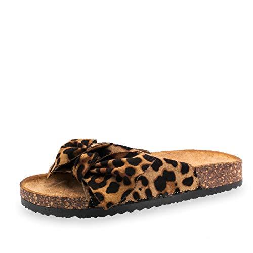 Damen Sommer Pantoletten Sandalen mit Schleife in hochwertiger Wildlederoptik Leo 38