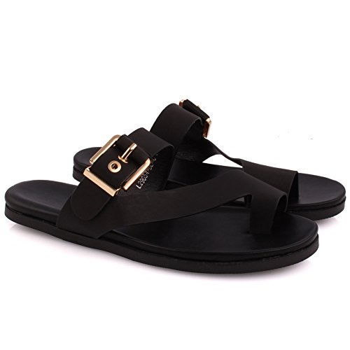 Unze New Women 'Hudson' Flat Toe Thong Sandales Buckled Summer Beach Party Get Together School Carnaval Casual Chaussons Pantoufles Grande-Bretagne Taille 3-8 Noir