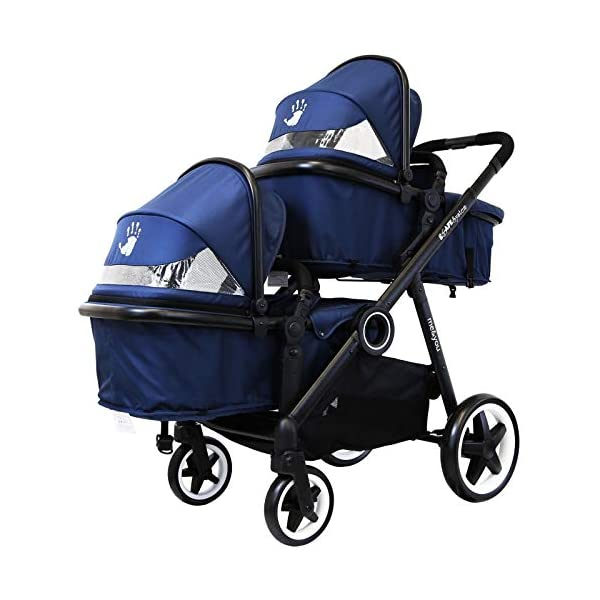 iSafe Me&You Inline Tandem Travel System with Second Seat & Rain Cover - Royal Blue iSafe Sleek & Eye Catching Matte Black Chassis, Weighing Only 16Kgs Easy One Second Fold, For Those Parents On The Go Soft Grip Extendable 3 Height Handle, To Suit Parents Of Any Height 4