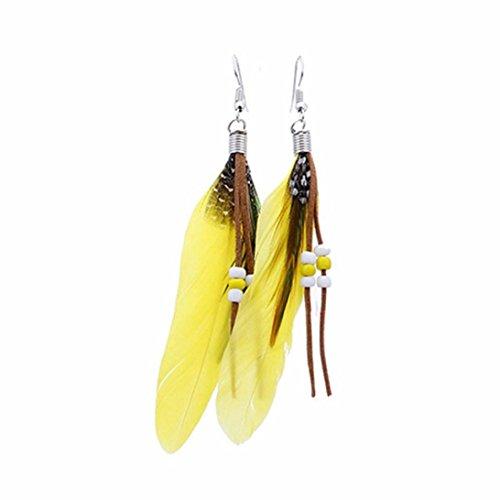 Pendientes amarillos de plumas