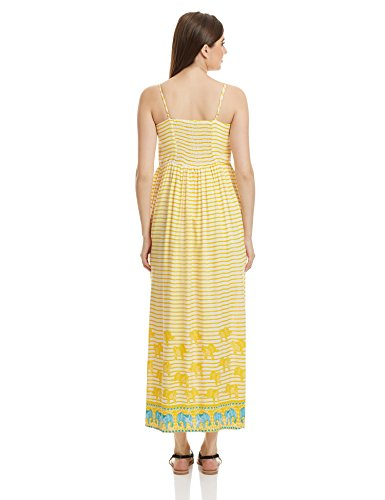 global desi Women's Rayon A-Line Dress (X23863-MX-500_Yellow_Medium)