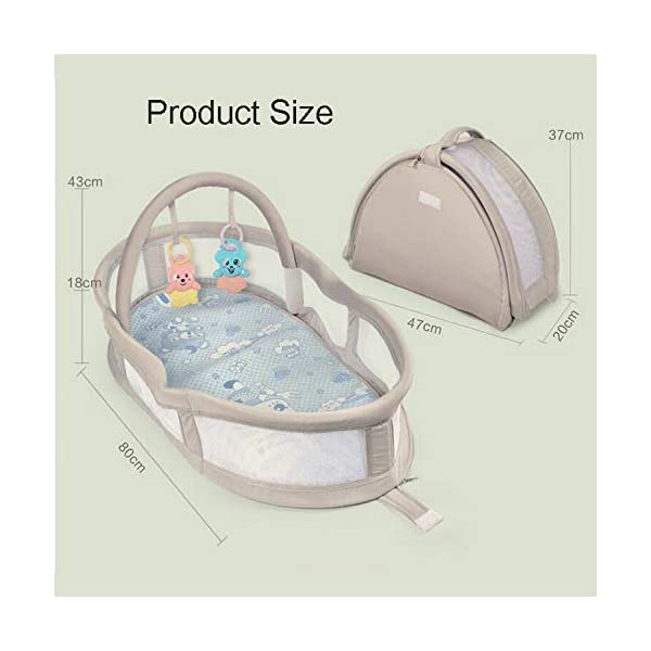 YANGGUANGBAOBEI Portable Baby Crib - Breathable And Hypoallergenic Toddler Newborn Co-Sleeping Lounger Bed For 0-24 Months YANGGUANGBAOBEI [BREATHABLE - WASHABLE]: Thousands of mesh holes and elastic layer maintain air circulation. The baby sleep pod can offer your baby good breathing environment when he sleeping. Even after repeated washing, its zipper will remain well. [ADJUSTABLE - FOLDING]: The slope of the head position of the baby bed can be adjusted from 5 to 30 degrees, it is not only suitable for sleeping, but also can be a baby bean bag. The folding design is easy to carry When you travel outside. [SOFT PAD - INSIDE DIMENSIONS]: This baby frame comes with an extra soft foldable cushion. You don't have to add anything extra to make your baby feel comfortable. The plastic frame is BMC material which is very light and firm. 7