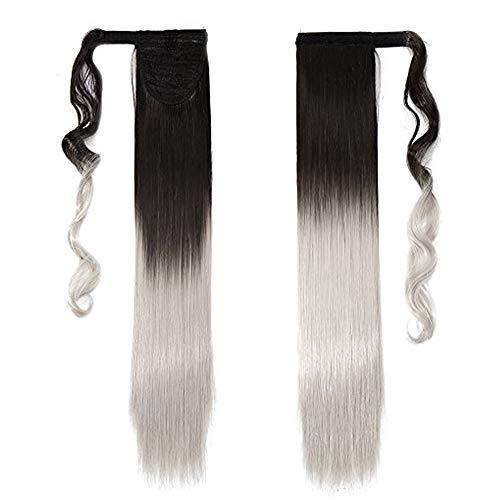 58cm coda capelli extension cavallo clip in hair sintetici lisci parrucca ponytail - castano scuro ombre grigio argento