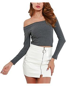 [Patrocinado]Aivtalk Tops Camisa Blusa Para Mujeres Chicas de Punto Elástico Off Shoulder Pullover, 5 Colores a Elegir