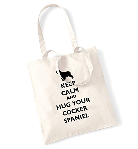 Keep calm and hug il cocker spaniel tote bag natur