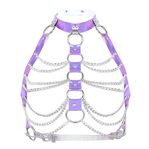 FEESHOW Damen Körper Brust Geschirr Harness Riemen BH Leder Brustgurt mit Metall Ketten Punk Gothic Kostüm Clubwear Purple One_Size