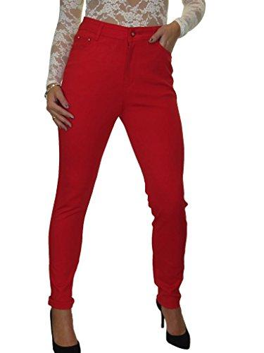 ICE Jeans con Cintura alta, Jersey Grueso Stretch 42-56 Rosso