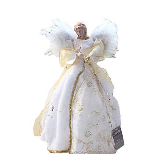 Verziert Faux Pelz (Luxus Gold & Ivory Engel Feder Flügel Kunstfell & Pailletten Coat Christbaumspitze Qualität Fairy Angel)