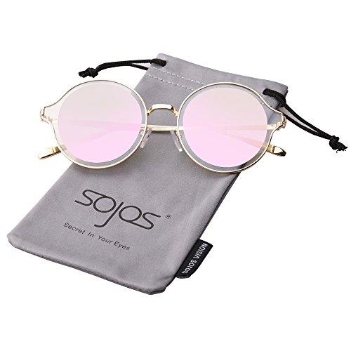 SojoS Schick Klassische Retro Runde Verspiegelt Alien Unisex Sonnenbrille Herren Damen SJ1058 mit Gold Rahmen/Rosa Linse