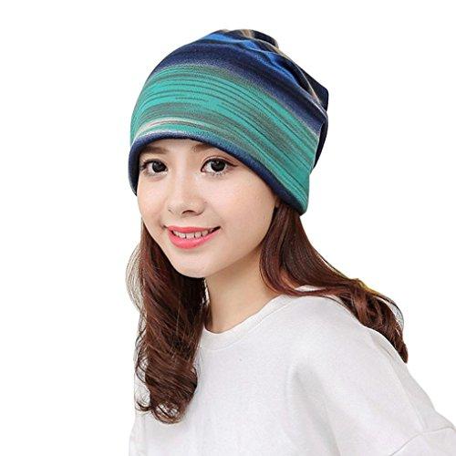 Strickmützen Damen Hüte Winter Mütze Warm Caps Frauen Schal Mütze Kragen Halsband Turban Head Wrap Cap von Xinan (Blau, ❤️)