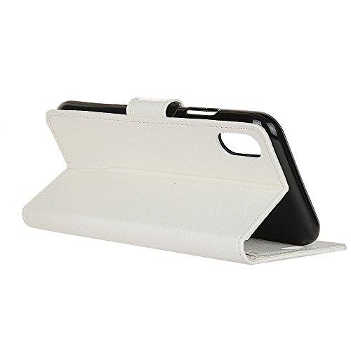 EKINHUI Case Cover Traditionelle Litchi Texture PU Ledertasche Folio Stand Brieftasche Case Cover mit Card Slots für iPhone X ( Color : Rose ) White