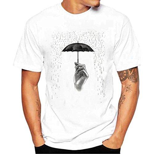 GreatestPAK Baumwoll T-Shirt Weiß T Shirts Hemd Männer HerrenT-Shirt mit Regenschirm Drucken,Weiß,M - V-neck Baumwolle T-shirts Drucken
