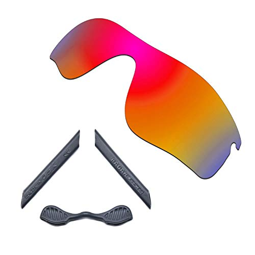 HKUCO For Oakley Radarlock Path Red Polarized Replacement Lenses And Grey Earsocks Rubber Kit