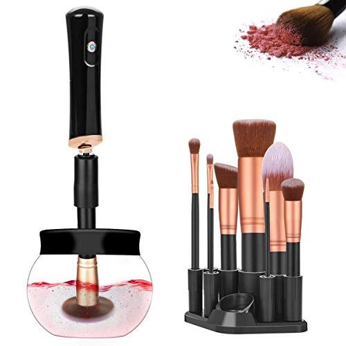 Limpiador de Brochas Electrico Maquillaje Limpieza y Secado Automático Herramienta con 8 Caucho 360 Grados de Rotación para la Mayoría de Los Pinceles de Maquillaje (Negro)