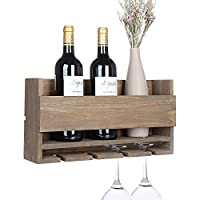 Vencipo Rustic Wall Mounted Wine Rack with 5 Red Wine Glasses Storage, Wooden Wine Bottle Holder for Farmhouse Kitchen Decor, Floating Wine Shelf Organizer for Living Room Display.