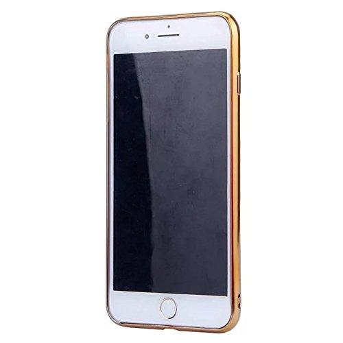 Etsue Plating TPU Silikon Schutzhülle für iPhone 7 Plus, Überzug Gold Rahmen Kratzfeste Plating TPU Case Durchsichtige Transparent Crystal Silikon Schutzhülle Handy Gürtel Tasche für iPhone 7 Plus+ 1x Golden+Rosa,Herz