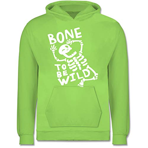 Anlässe Kinder - Bone to me Wild Halloween Kostüm - 12-13 Jahre (152) - Limonengrün - JH001K - Kinder Hoodie