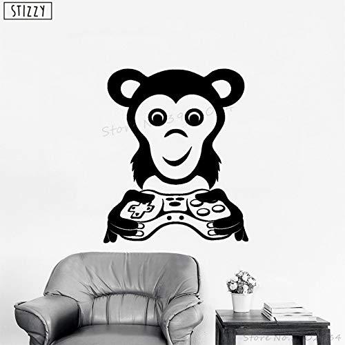 zhuziji Wandtattoo Spezielle Monkey Game Player Vinyl Wandaufkleber Video Gamer Abnehmbare Spielzimmer Kinder Schlafzimmer Geschenk Home De schwarz 57x69 cm