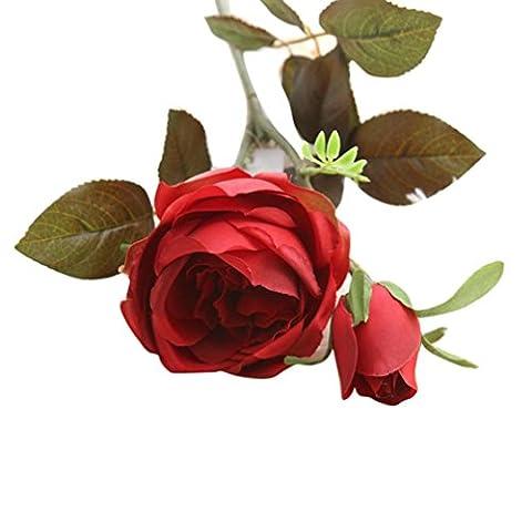 Zolimx Königliche Rosen Blumen Hochzeit Bouquet Party Home Decor Künstliche Blumen (Rot)
