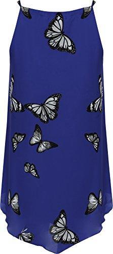 WearAll Donna Chiffon Stampa Con Farfalla Foderato Senza maniche Asimmetrico Canotta Lunga 14-28 Blu reale