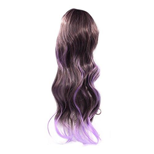 Vococal® 70CM Femmes Vague Long Bouclés Cheveux Extensions Perruque Cosplay Perruques Brun Mélangé Purple