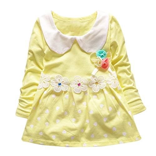 Happy Event Kleinkind Kind Baby Mädchen Langarm Floral Polka Dots Party Prinzessin Kleid (Gelb, 3-6 Monate-S)