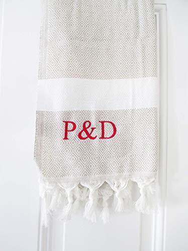 Fouta mit Initialen/Handtuch mit Name Hamamtuch Pestemal   Beige   Hochzeitsgeschenk -