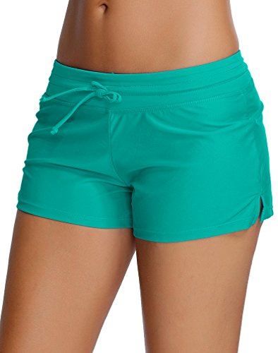 TDOLAH Damen Schwimmen Strand Badeshorts UV Schutz Bikinihose Beach Shorts Hotpants (XXL (EU 42-44), Türkis) (Boardshort-schwarz-kleidung)
