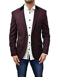 Designer Marc Darcy Men's Blazer Tailored Fit Dinner Suit Smart Coat Jacket Aaron Wine burgundy