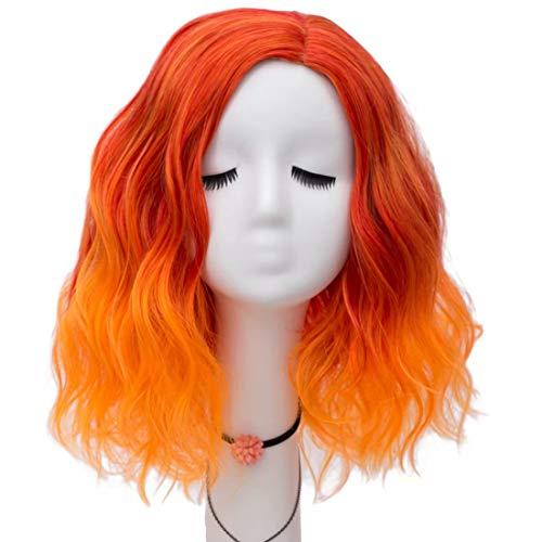 Schöne Perücke (NiceLisa Mode Dame 16 zoll schöne mischfarbe rot orange lose welle halloween party täglich cosplay perücke)