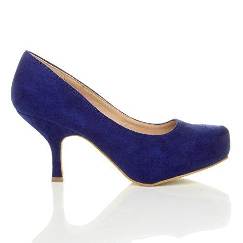 Femmes escarpins talon bas à moyen élégant travail soignée chaussures taille Daim bleu