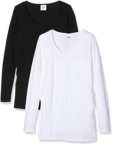 Mamalicious Mllea Organic L/S Top 2pack, T-Shirt de Maternité Femme, (lot de 2 ) Noir (Black)