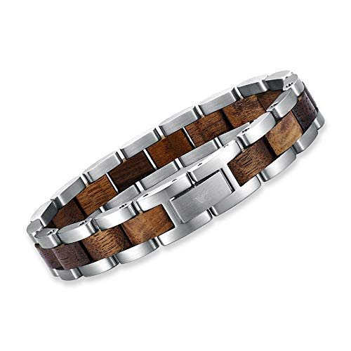Woodstar SILVER CROCODILE - Armband für Männer Holzarmband Edelstahl Schmuck Kollektion Holz Silber Braune B18-003
