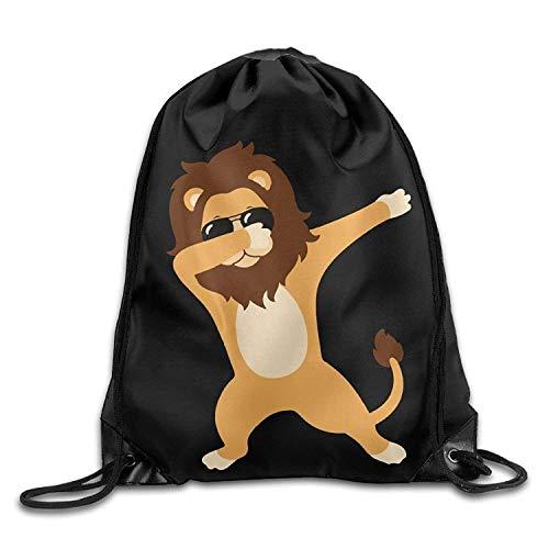 Dabbing Lion with Sunglasses Drawstring Backpack Bag Beam Mouth Gym Sack Shoulder Bags for Men/Women