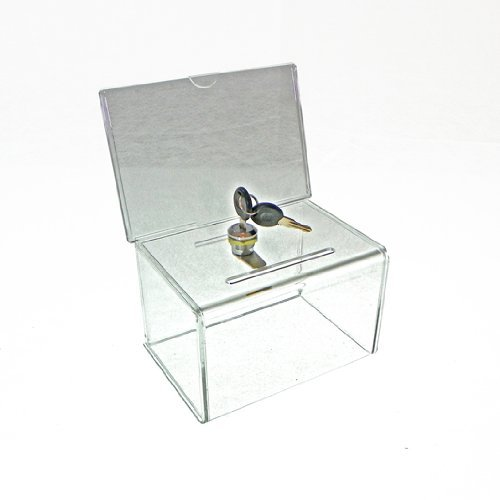 Marketing Holders Clear Locking Ballot Box with Header for 6 x 4 Literature by Marketing Holders (Locking-header)