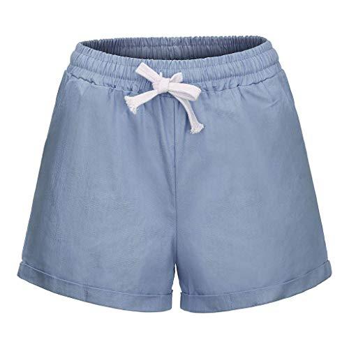 Xmiral Shorts Damen Einfarbig Hot Pants Elastische Taille Tunnelzug Hosen Große Größe Relaxed Straight Leg Hosen Yogahosen(Hellblau,XXL) -