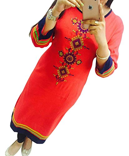 Pink Georgette Embroidered Un-Stitched Straight Kurti  available at amazon for Rs.419