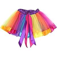 BOBORA Bambino Ragazze Arcobaleno Danza Balletto Vestito Partito Gonna Tutu  Pettiskirt 23d5ed79944