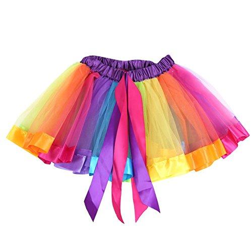 Mädchen Ballett Kleid Partei Bogen Tulle Ballettröckchen Rock Regenbogen Tanz Abnutzung