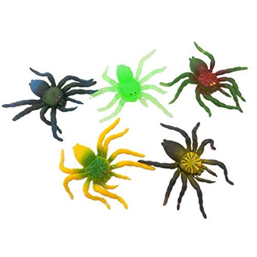 Amosfun 10 Stücke Halloween Spinne Heikles Requisiten Weichgummi Simulation Spinne für Halloween Scary Dekoration (Mischfarbe)