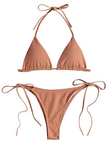 ZAFUL Damen Einfarbiger Gerippter Halter Bikini Gepolsterter Badeanzug Beachwear(Wüstensand M)
