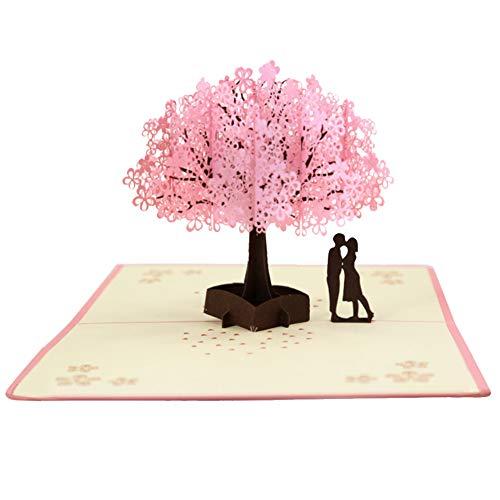 omantischer Flacher Sakura-Baum 3D Knallen Oben Valentinstag-Hochzeits-Geschenk-Karte ()