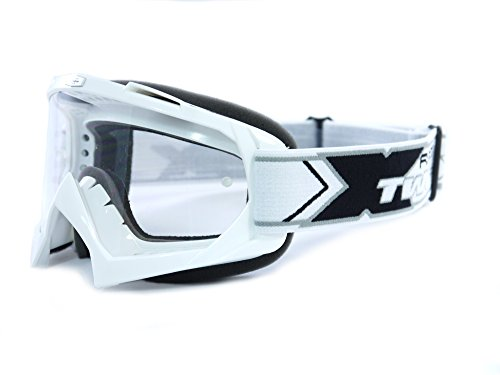 Two-X Race Crossbrille MX Brille Weiss Motocross Enduro Klarglas Motorradbrille Anti Scratch MX Schutzbrille