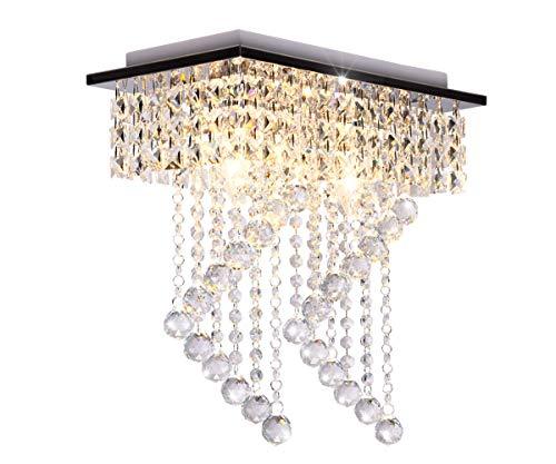 Dellemade 2-Leuchtet Kristall kronleuchter Modern Deckenleuchte Für Treppenhaus, Bar, Küche, Esszimmer, Kinderzimmer