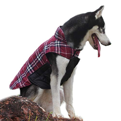 ThinkPet Hundemantel,Winter-Warm-Jacke, Beide Seiten können tragen,Plaid