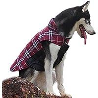 ThinkPet Chaqueta Perro Reversible Ropa para Perro Escocesa Abrigo Perro Impermeable de Cuadros británicos para Perros Grandes