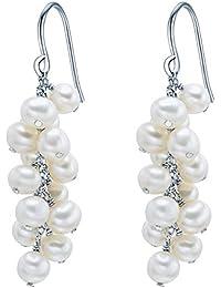 Valero Pearls - Pendants d'oreilles - Perles de culture d'eau douce - Argent sterling 925 - Bijoux de perles, boucles d'oreilles, bijoux en argent - 60200136